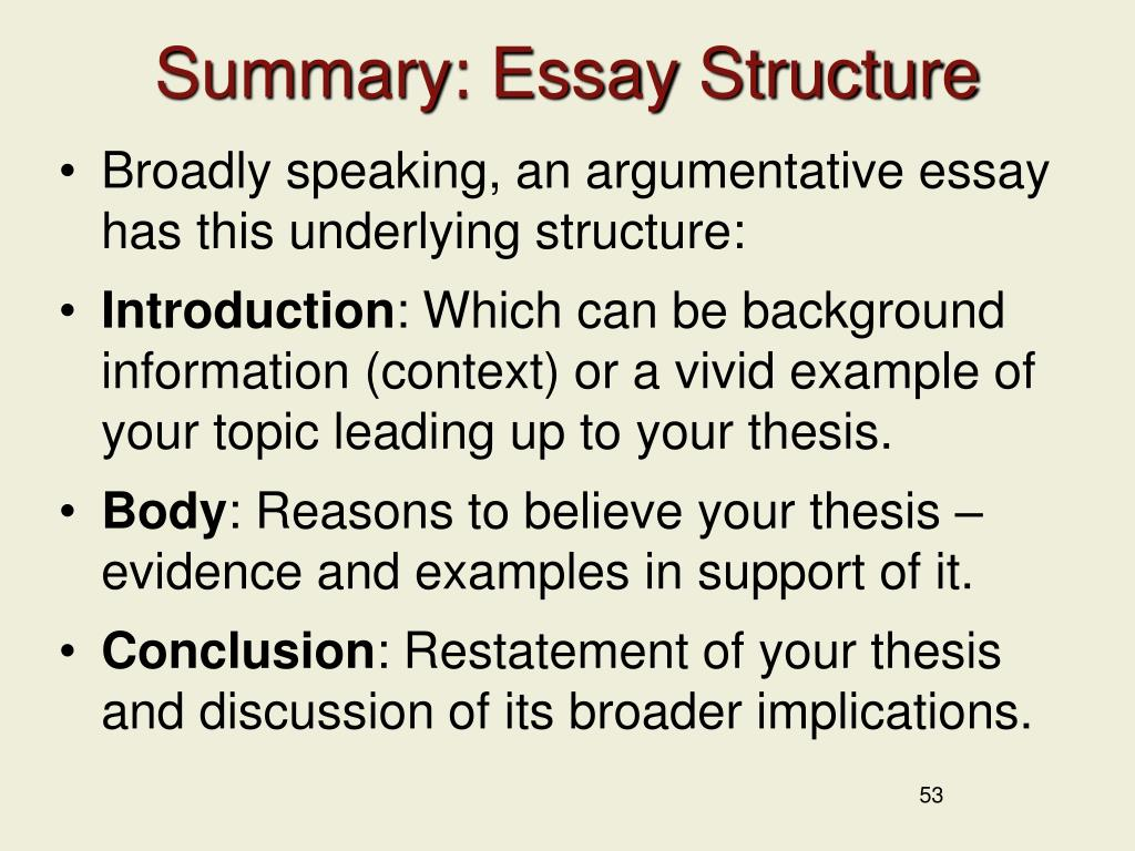 Summary: Essay Structure