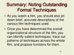 summary noting outstanding formal techniques