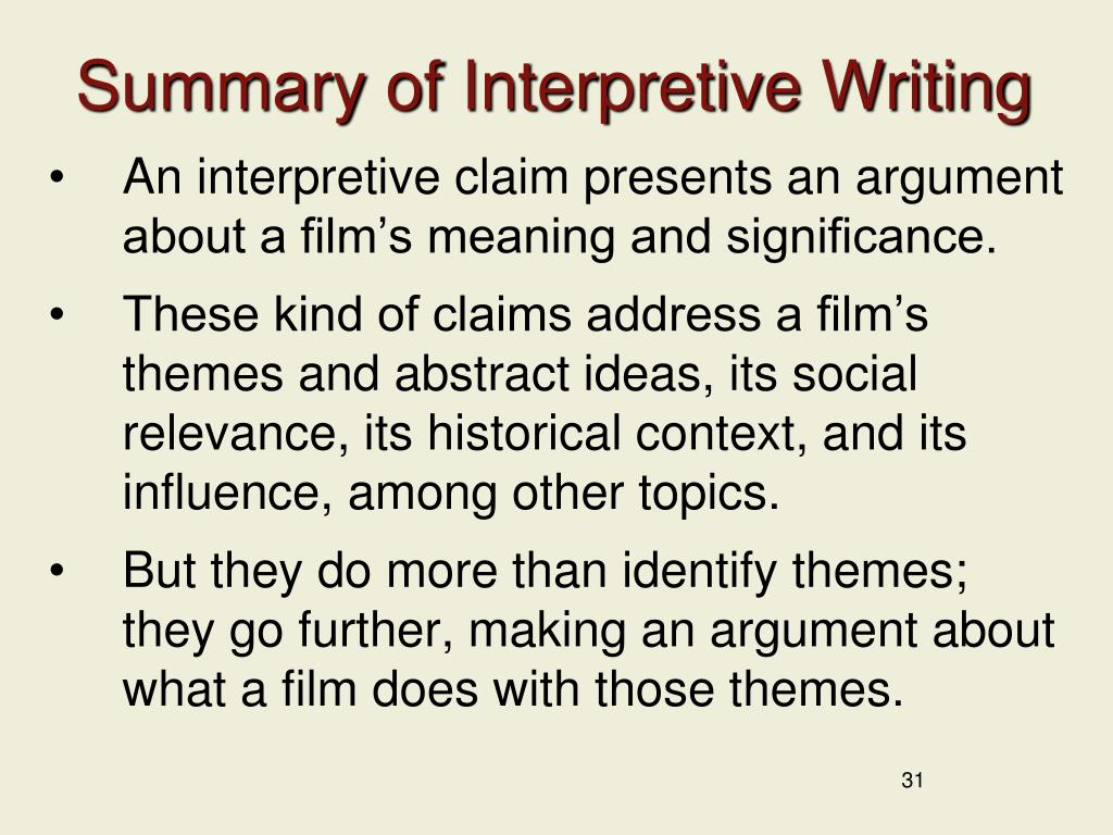 Summary of Interpretive Writing
