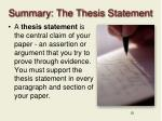 summary the thesis statement