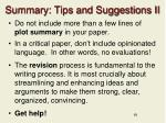 summary tips and suggestions ii