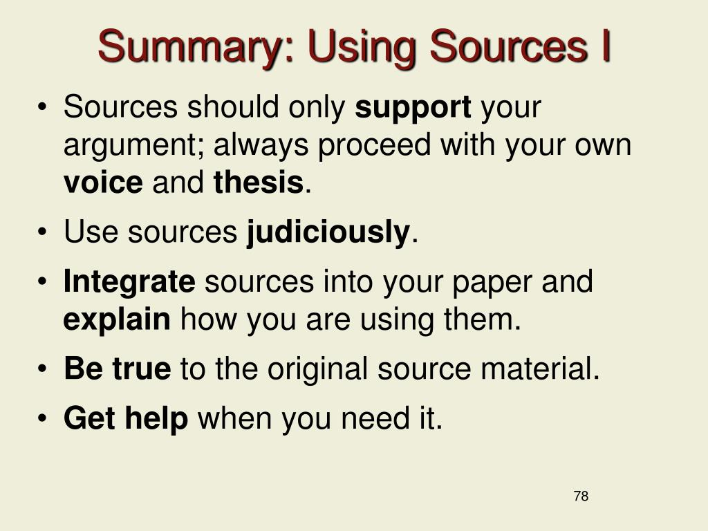 Summary: Using Sources I