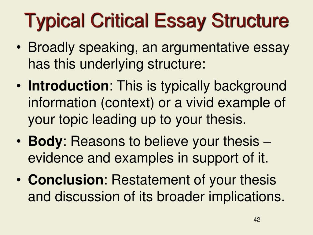 Typical Critical Essay Structure