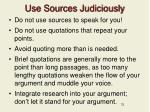 use sources judiciously