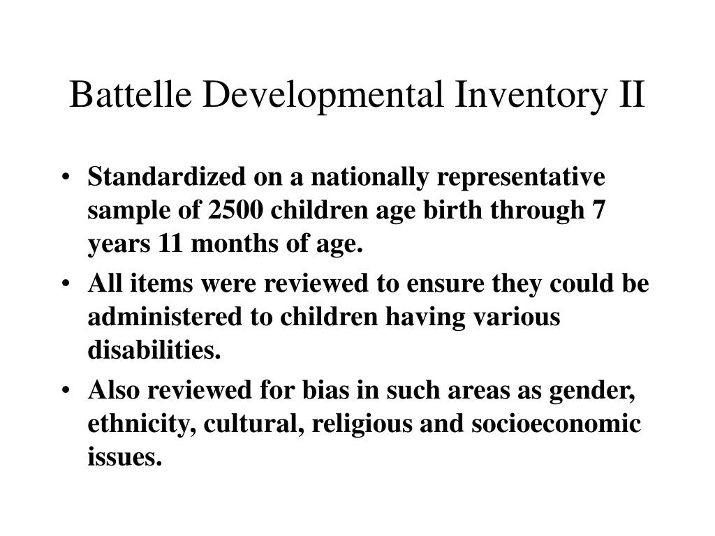 Battelle Developmental Inventory II