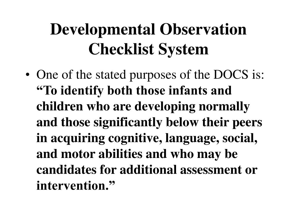 Developmental Observation Checklist System