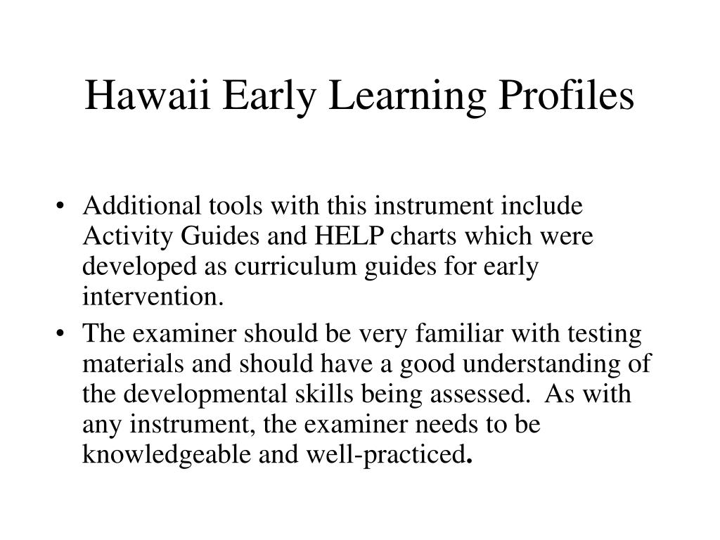 Hawaii Early Learning Profiles