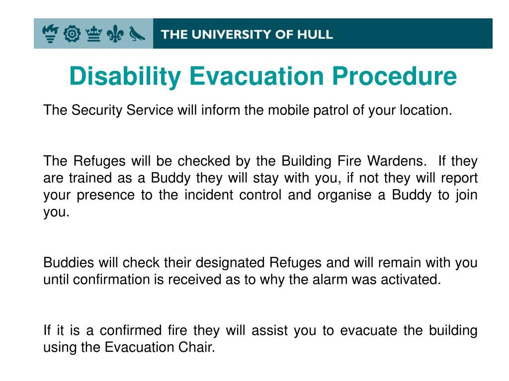 Ppt Disability Fire Evacuation Procedure Powerpoint