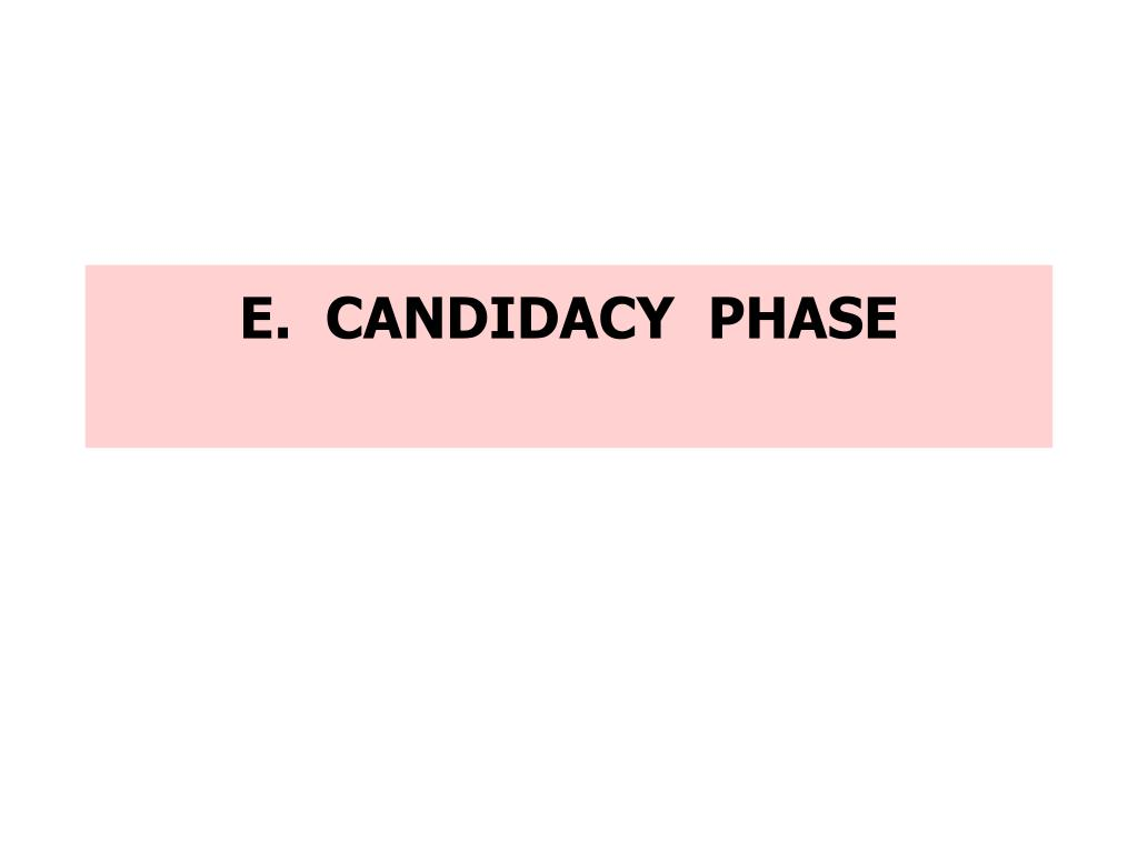 E.  CANDIDACY  PHASE