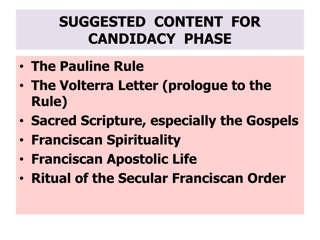 SUGGESTED  CONTENT  FOR CANDIDACY  PHASE