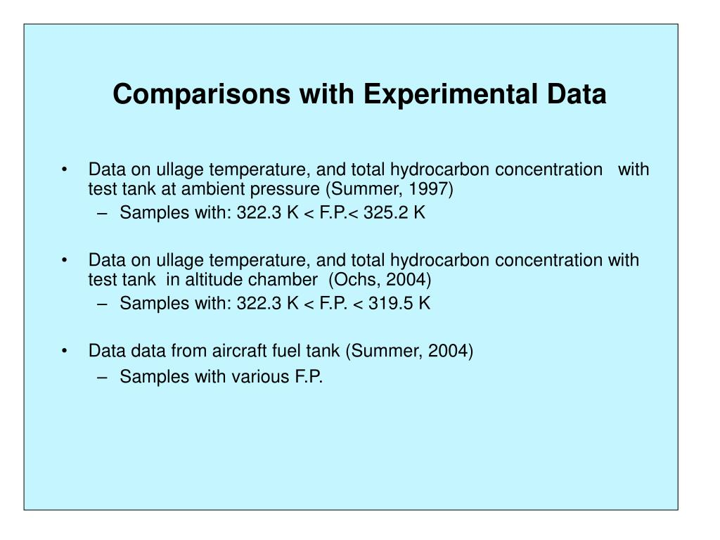 Comparisons with Experimental Data