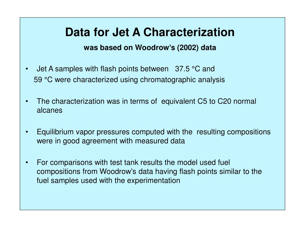 Data for Jet A Characterization