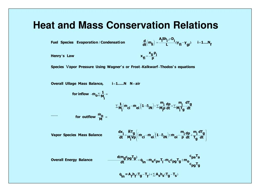 Heat and Mass Conservation Relations