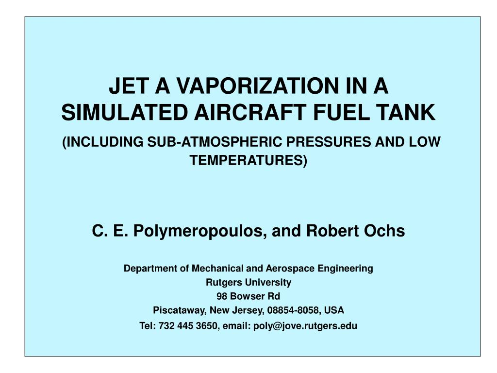 JET A VAPORIZATION IN A SIMULATED AIRCRAFT FUEL TANK