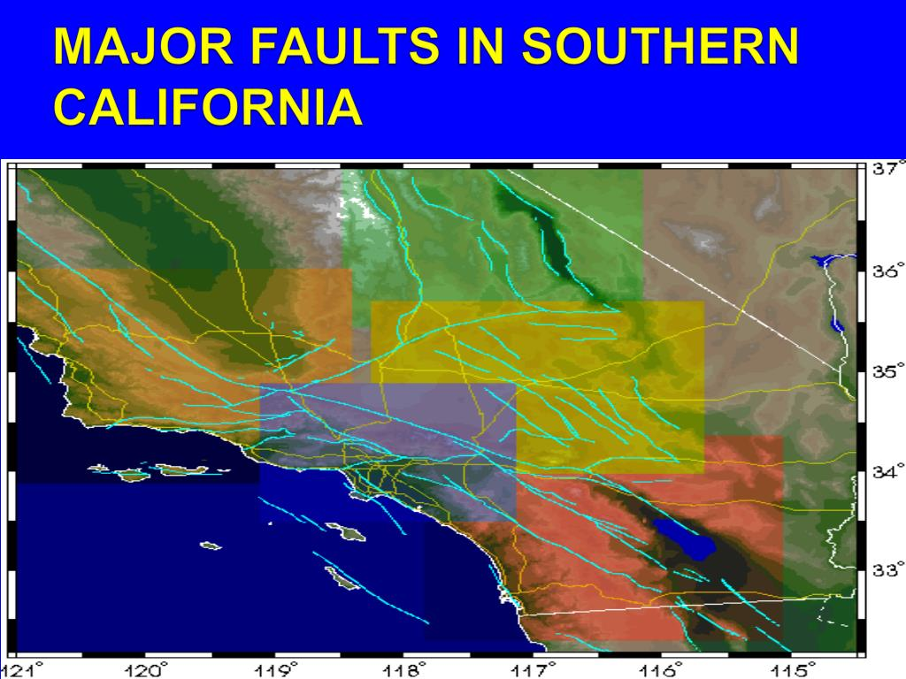 MAJOR FAULTS IN SOUTHERN CALIFORNIA