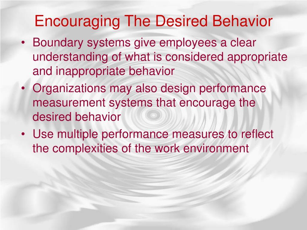 Encouraging The Desired Behavior