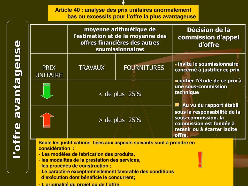 Article 40: analyse des prix unitaires anormalement