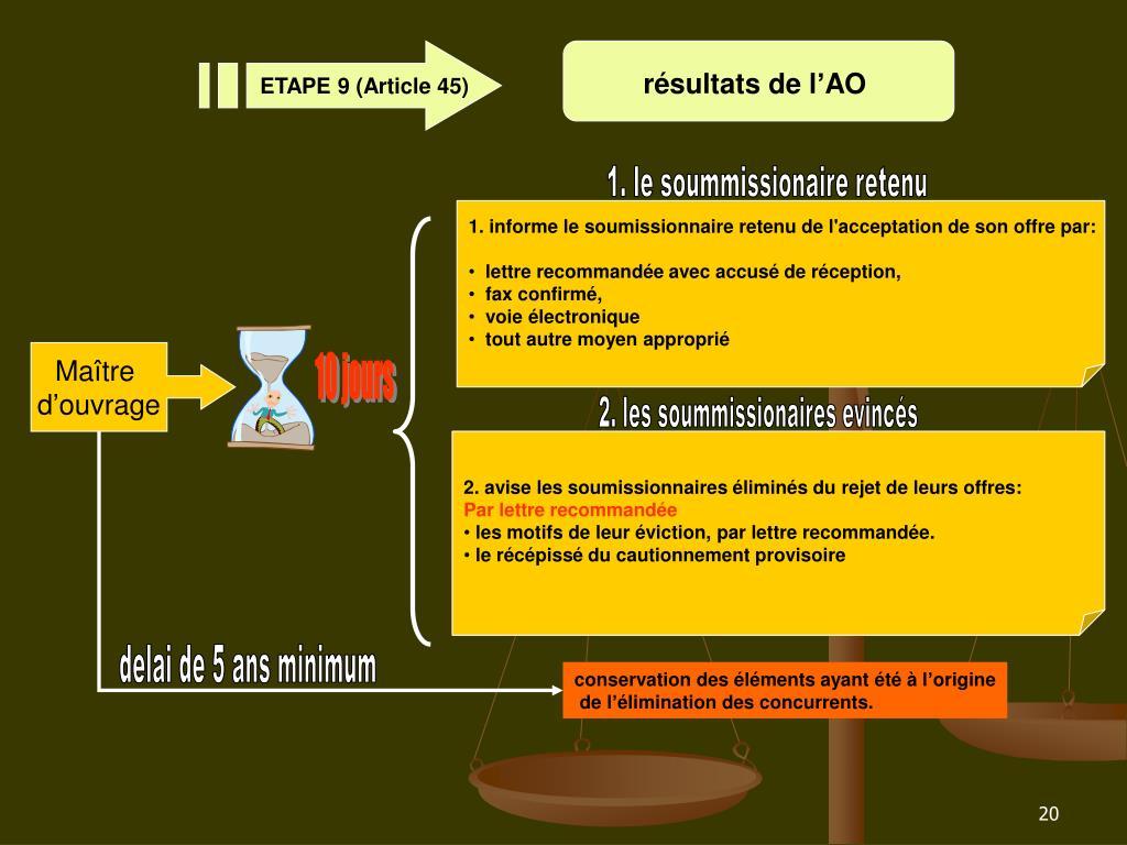 ETAPE 9 (Article 45)
