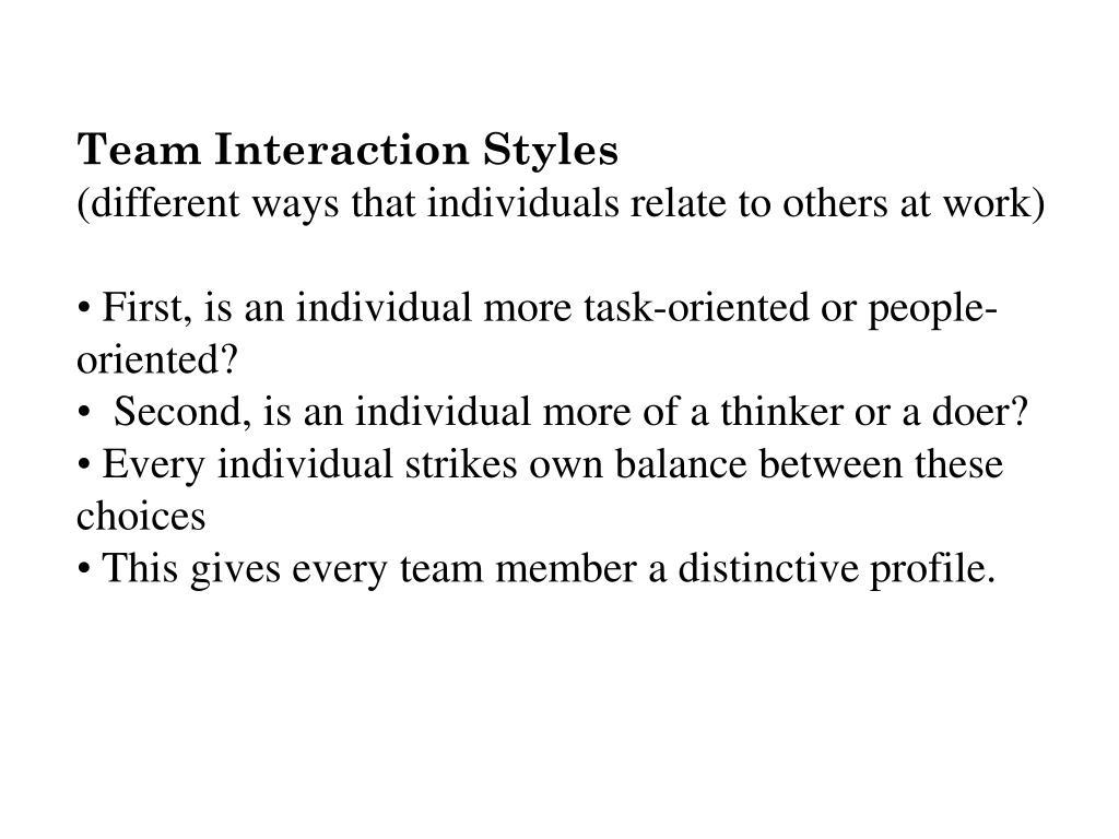 Team Interaction Styles