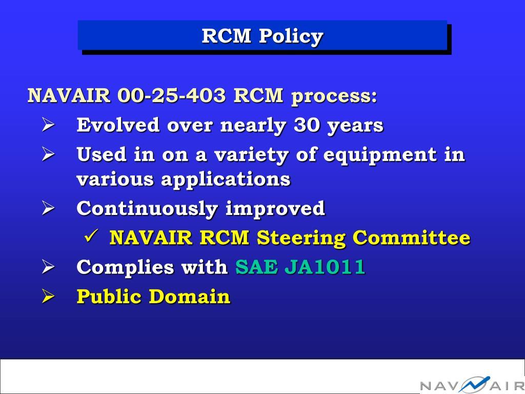RCM Policy