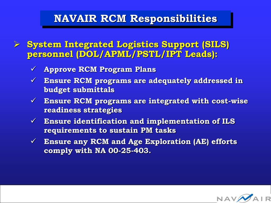 NAVAIR RCM Responsibilities
