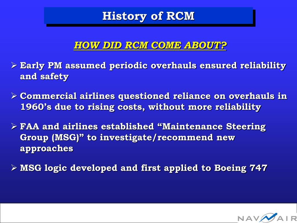 History of RCM