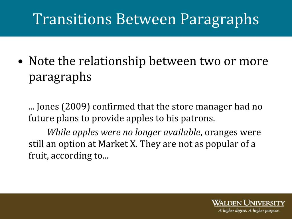 Transitions Between Paragraphs