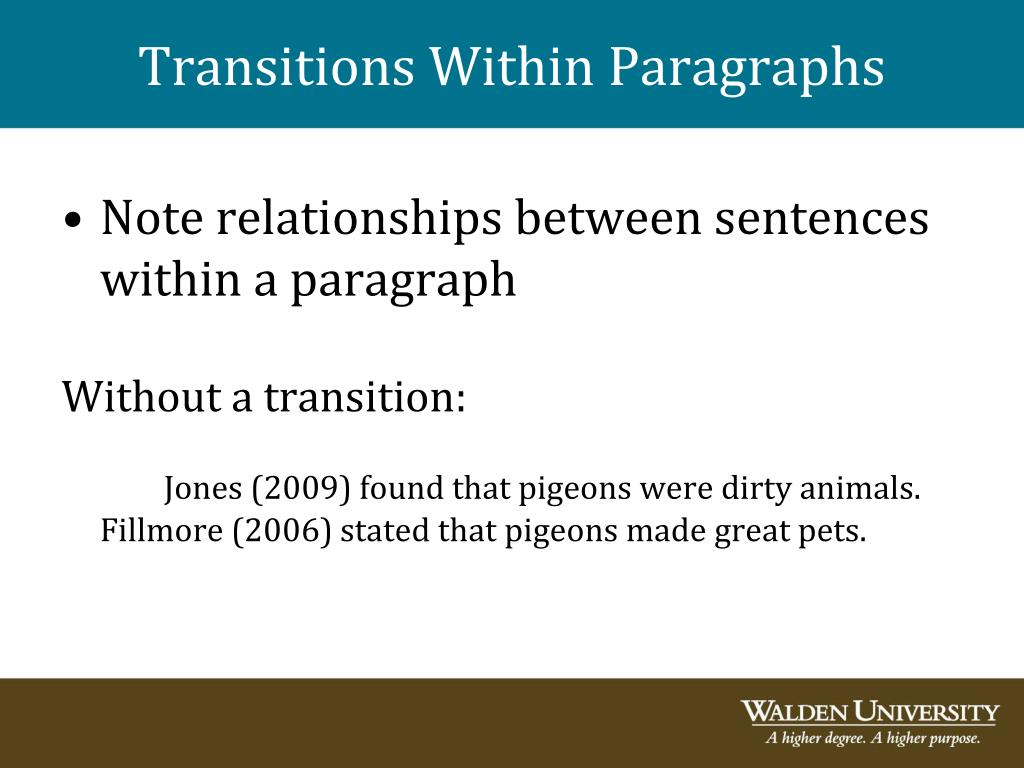 Transitions Within Paragraphs