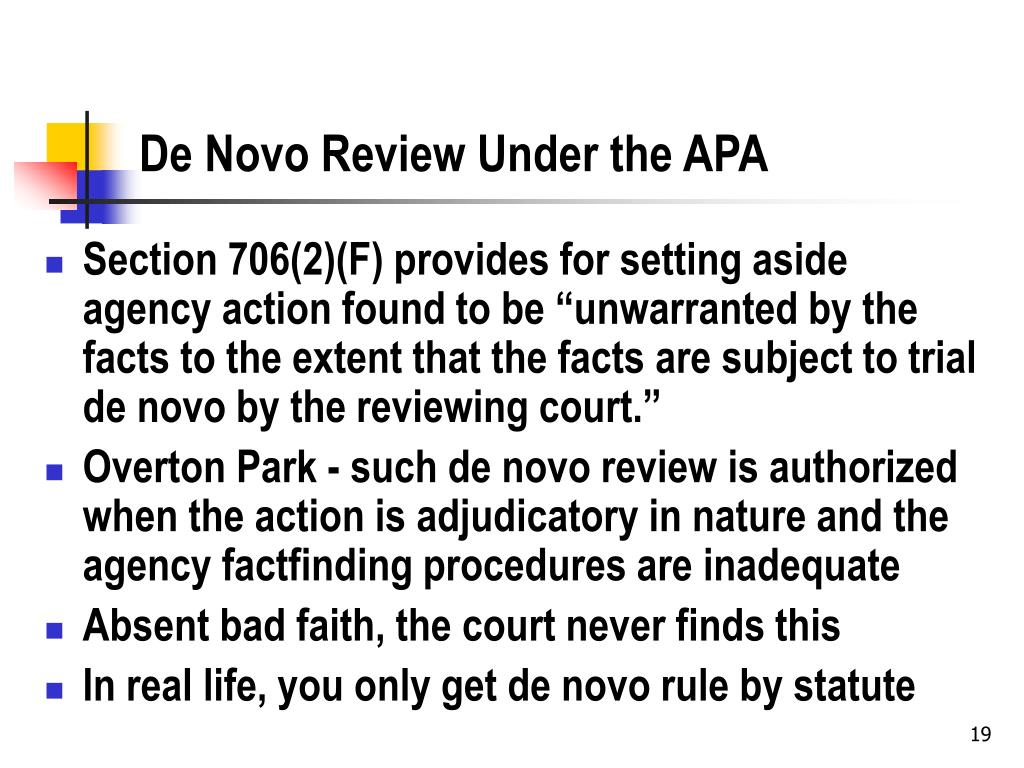 De Novo Review Under the APA