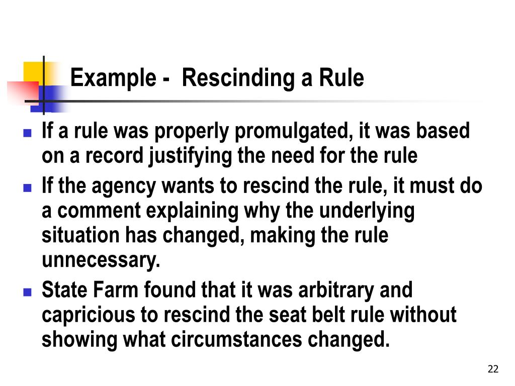 Example -  Rescinding a Rule