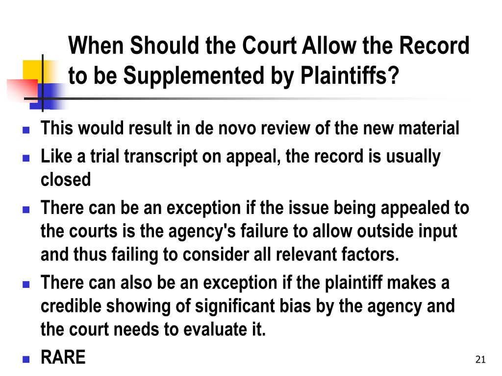 When Should the Court Allow the Record to be Supplemented by Plaintiffs?