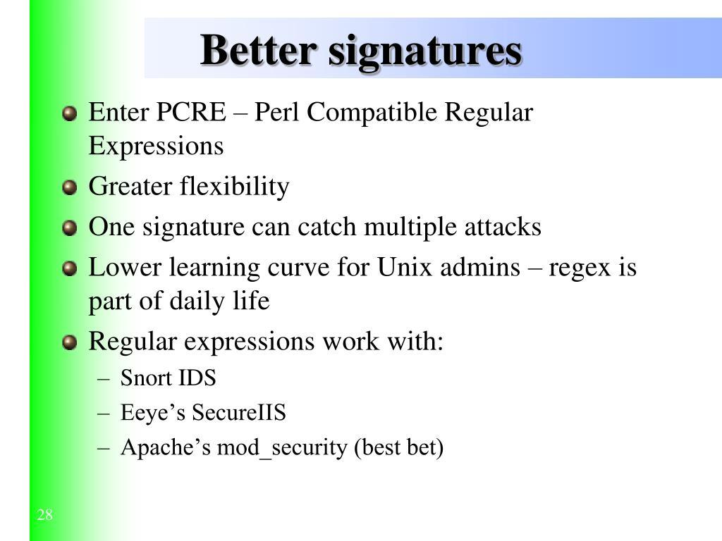 Better signatures