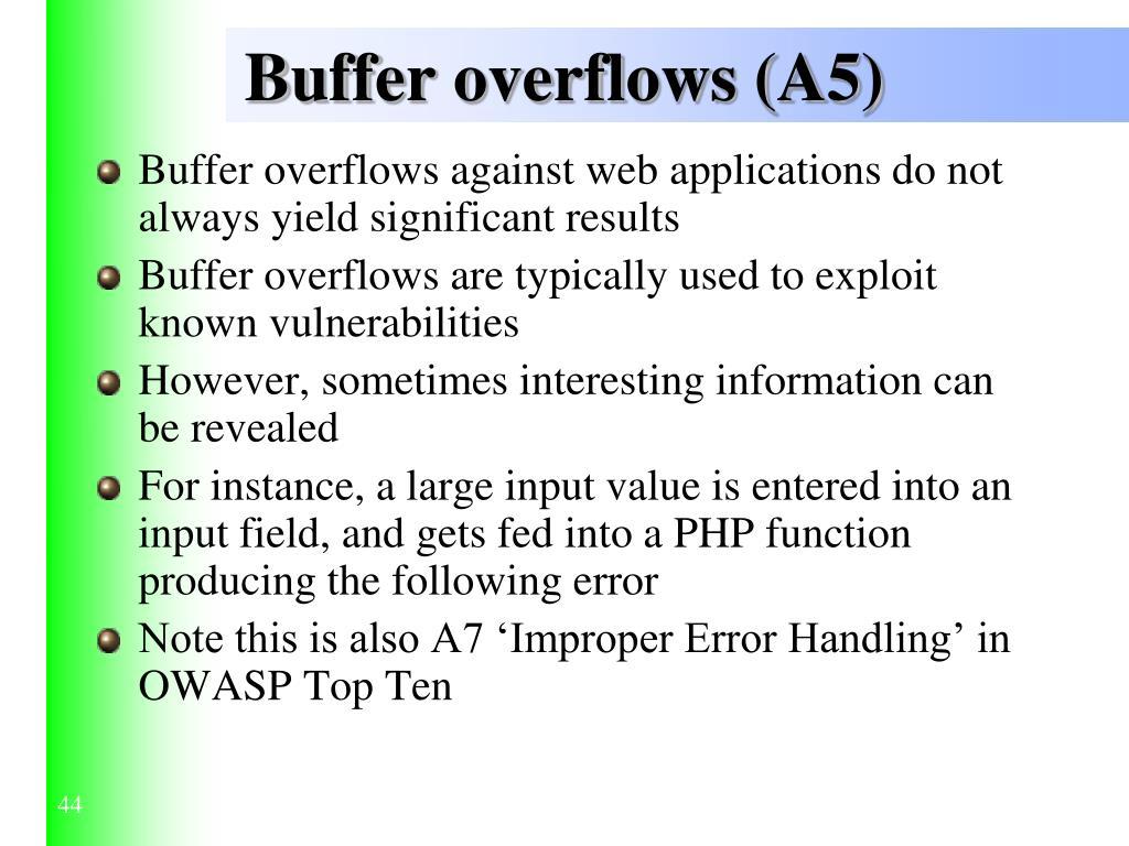 Buffer overflows (A5)