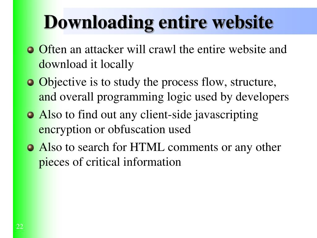 Downloading entire website