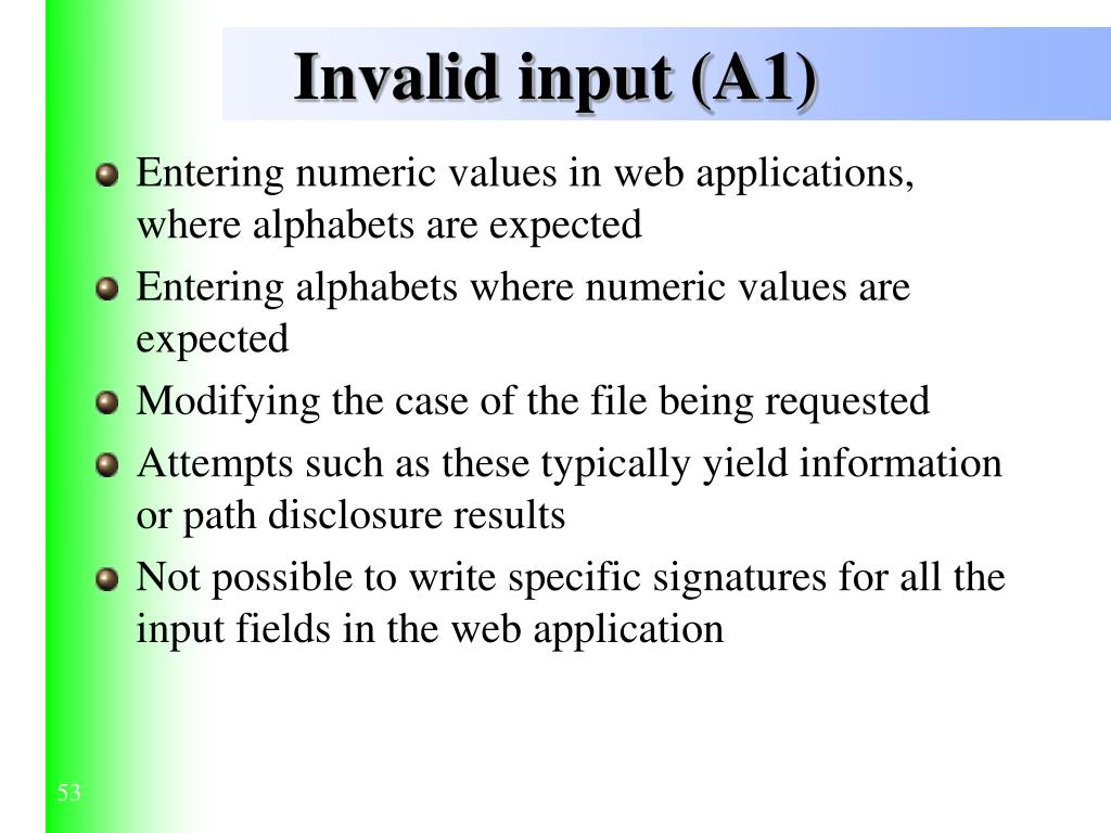Invalid input (A1)