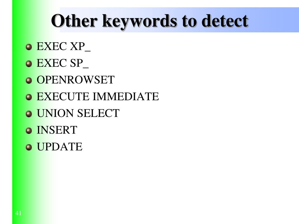Other keywords to detect