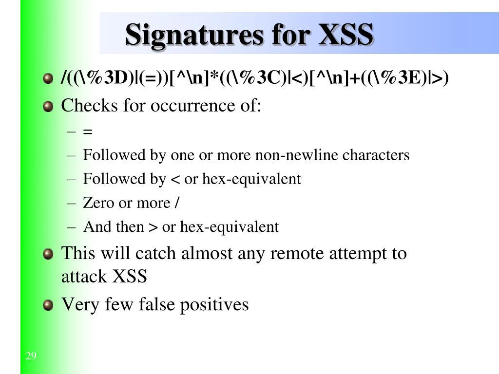 Signatures for XSS