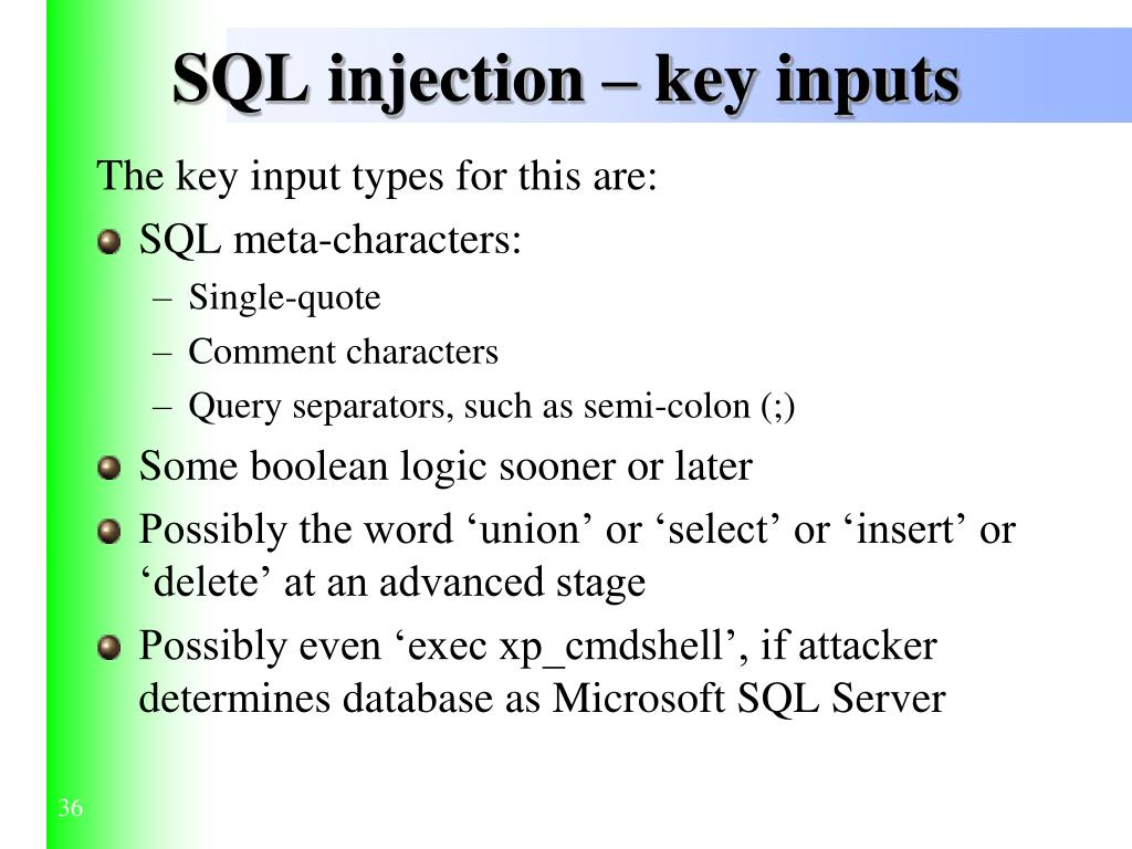 SQL injection – key inputs