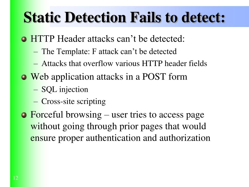 Static Detection Fails to detect: