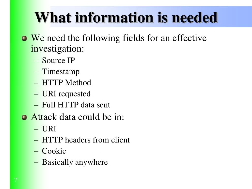 What information is needed
