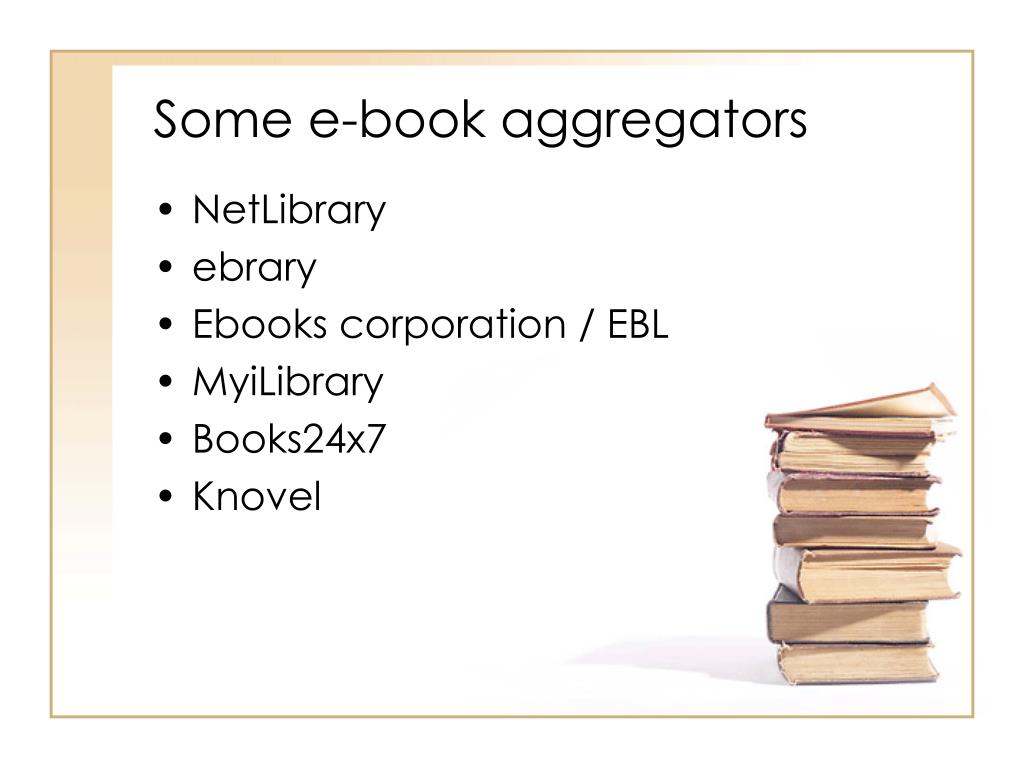 Some e-book aggregators