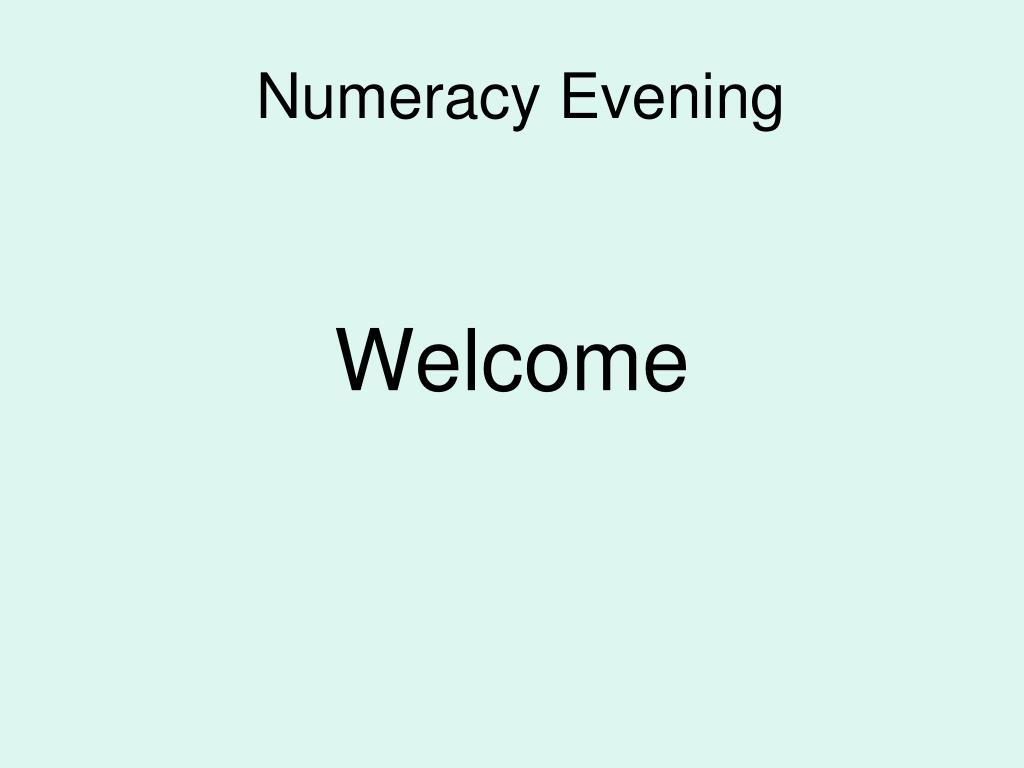 Numeracy Evening