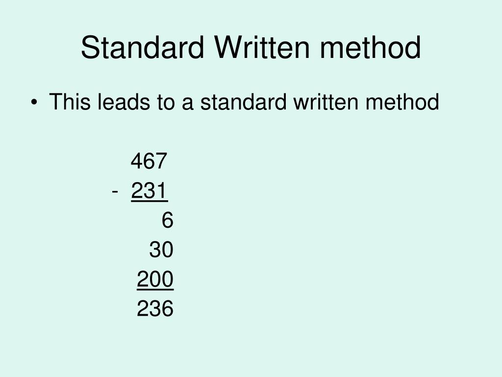 Standard Written method