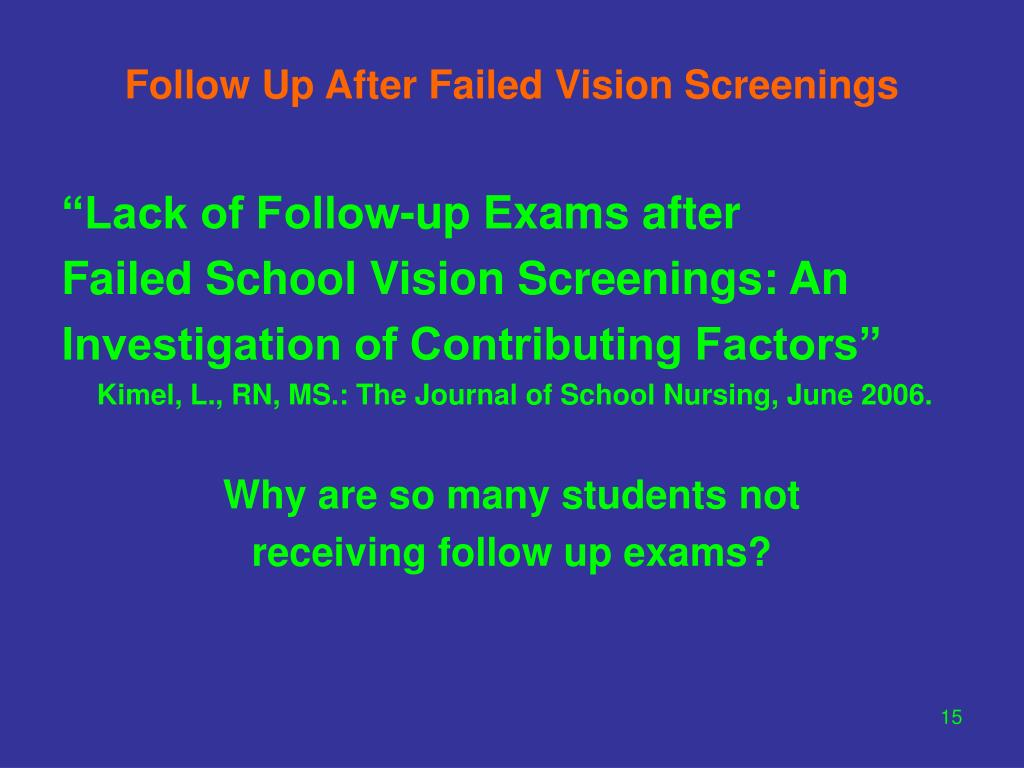 Follow Up After Failed Vision Screenings