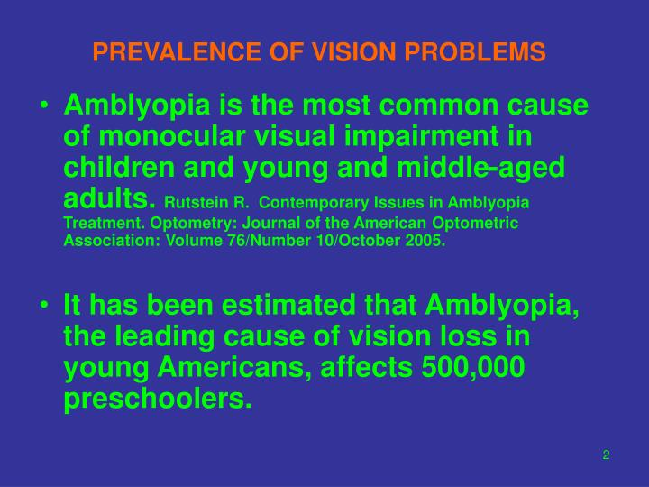 Prevalence of vision problems