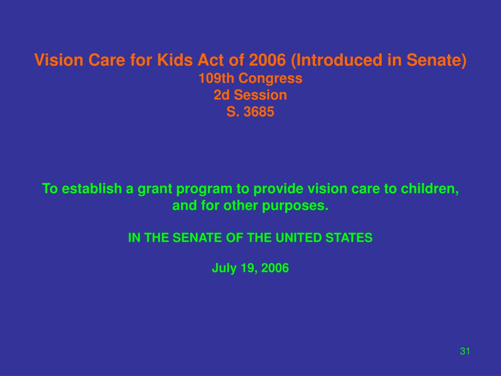 Vision Care for Kids Act of 2006 (Introduced in Senate)