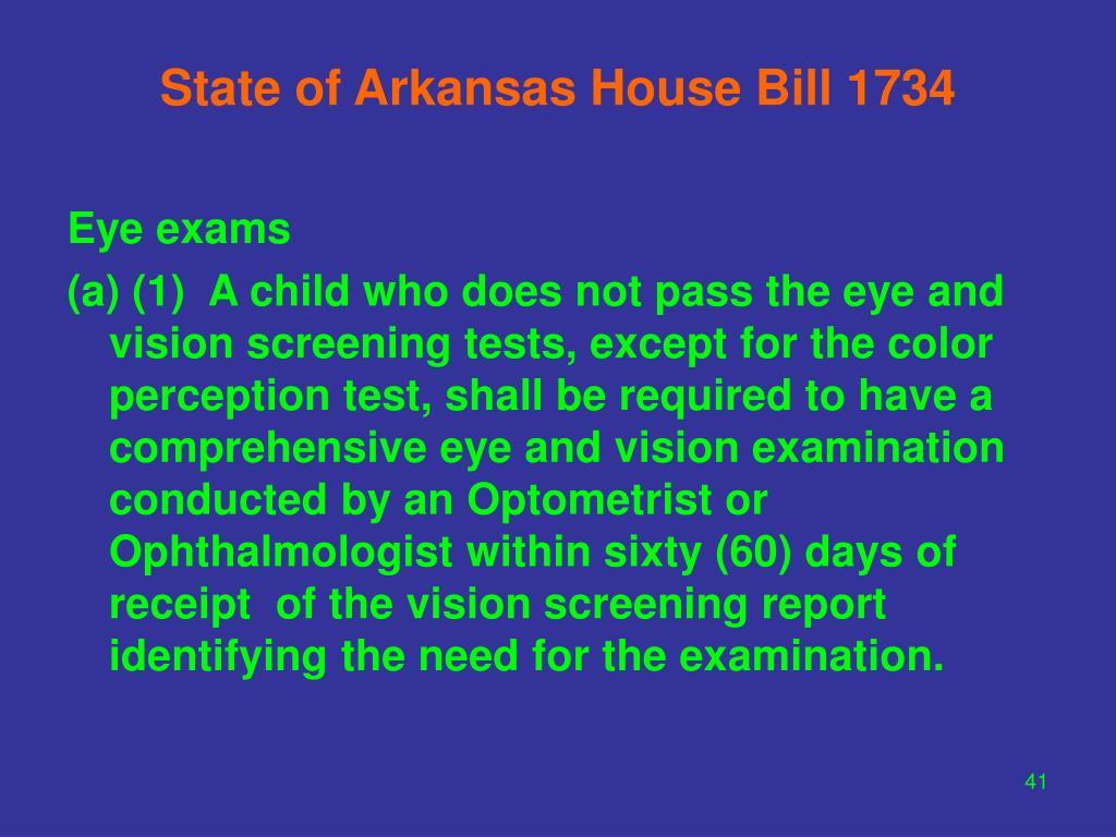 State of Arkansas House Bill 1734