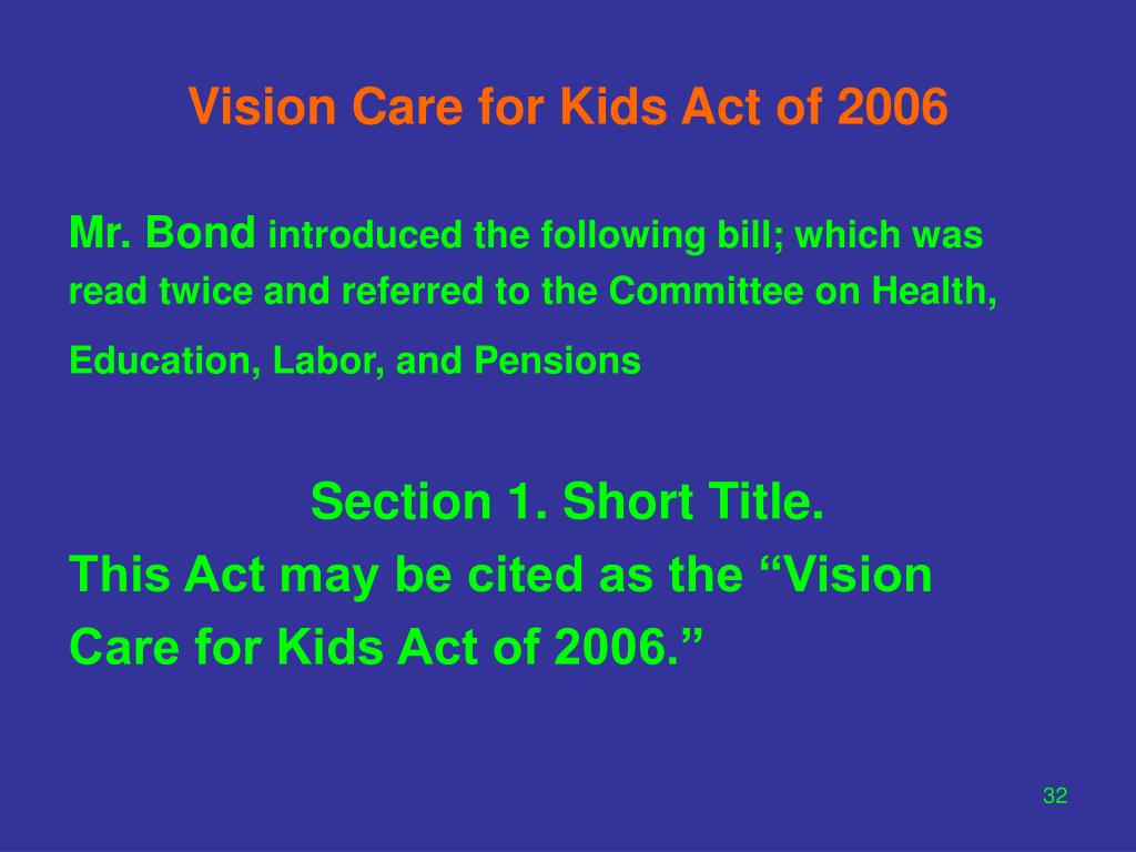Vision Care for Kids Act of 2006