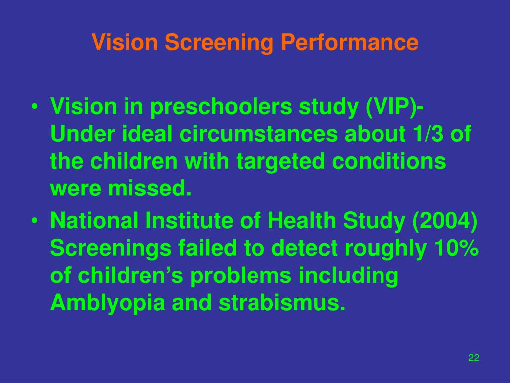 Vision Screening Performance