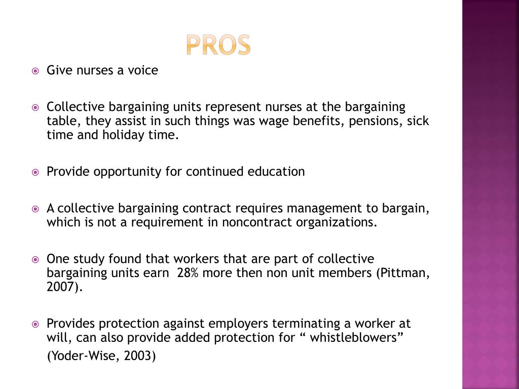 """pros and cons of collective bargaining Collective bargaining and wages zafiris tzannatos  """"unions and collective bargaining:  pros and cons  7."""